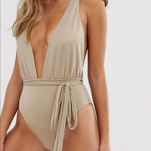 Gold plunge swimsuit